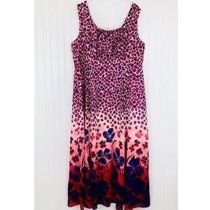 Dressbarn • Pink Blue Floral Maxi Dress • 24